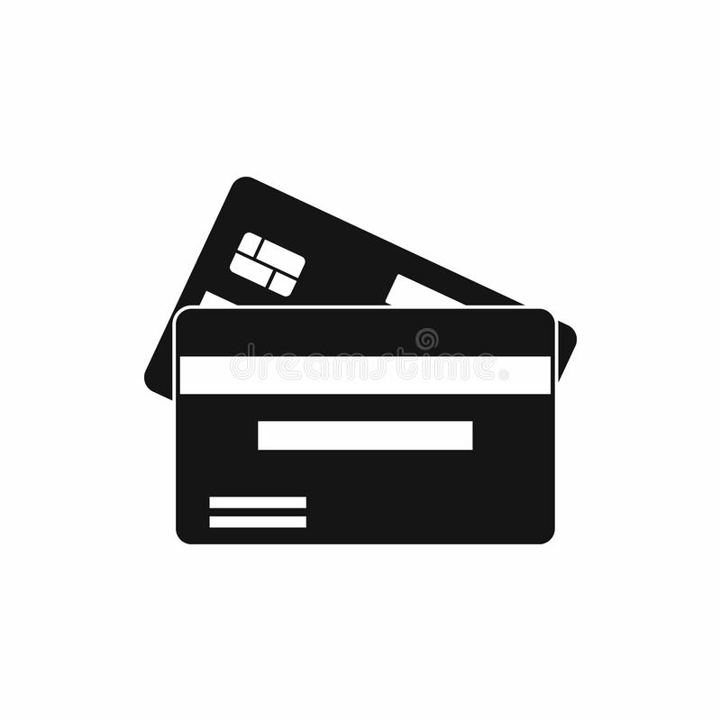 Credit card icon, simple style. Credit card icon in simple style isolated on white background. Money symbol stock image