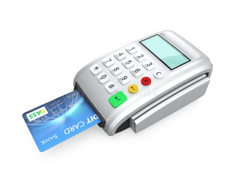 Credit card inserted into a silver card-reader. On white background royalty free stock photos