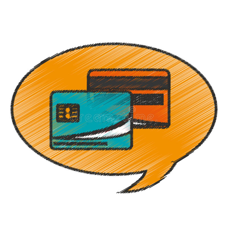 Credit card inside bubble design. Credit card inside bubble icon. Money financial item commerce market and buy theme. Isolated design. Vector illustration stock illustration