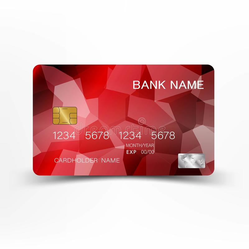 Credit card. With inspiration from the abstract.  Black and red on the white background. Glossy plastic style. vector illustration