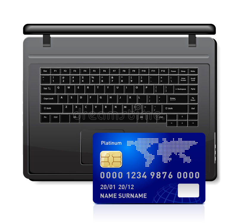 Credit card on a laptop royalty free illustration