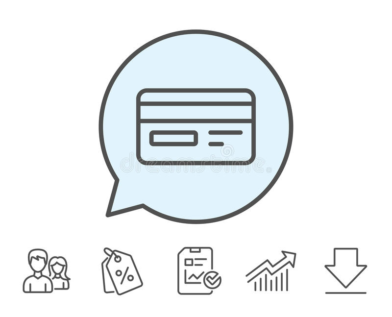 Credit card line icon. Bank payment method. royalty free illustration