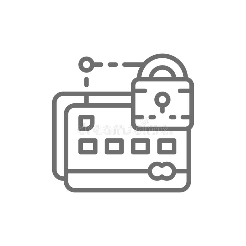 Credit card with lock, web security line icon. stock illustration