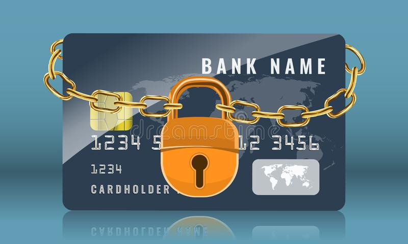 Credit card locked with golden chain and golden padlock. Protection and security concept. Vector illustration. stock illustration