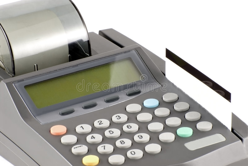 Credit Card and Machine. Credit card in machine is ready to be swiped royalty free stock image