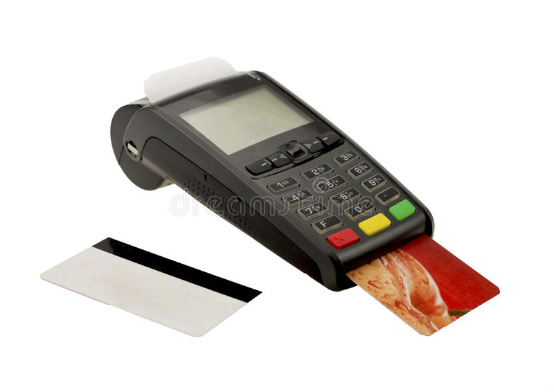 Credit card machine. Bank card in chip and pin mashine royalty free stock photo
