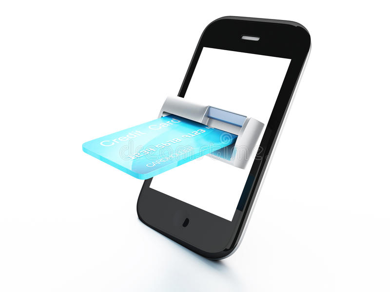 Credit Card and mobile phone. Online payment conce vector illustration