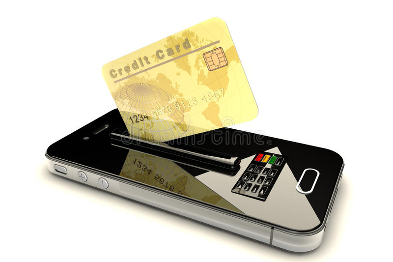 Credit Card and mobile phone. Online payment concept Conceptual view about checkouts or payments over Internet and mobile devices royalty free illustration