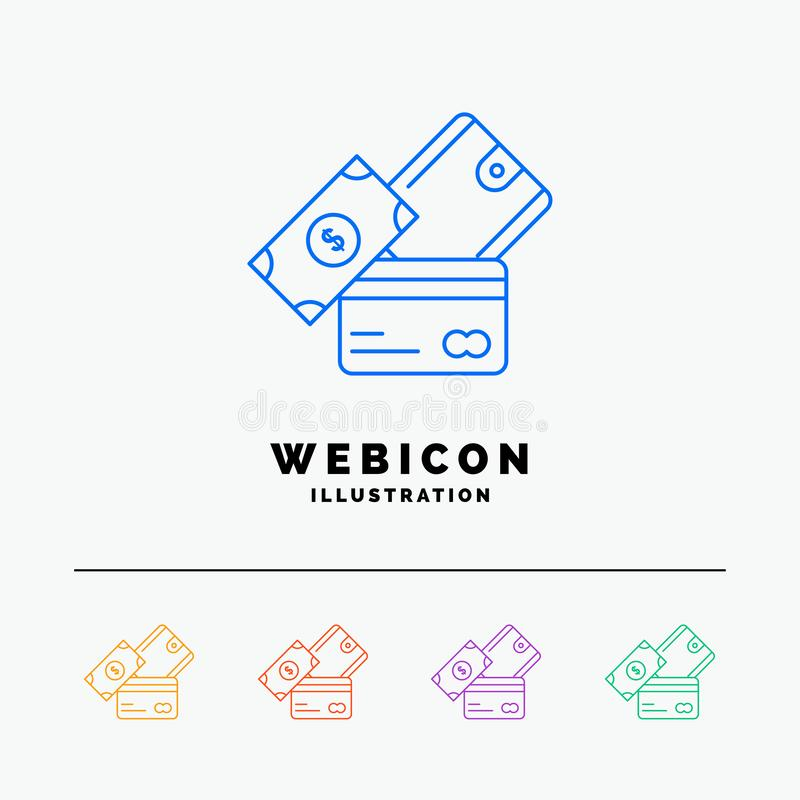 credit card, money, currency, dollar, wallet 5 Color Line Web Icon Template isolated on white. Vector illustration stock illustration