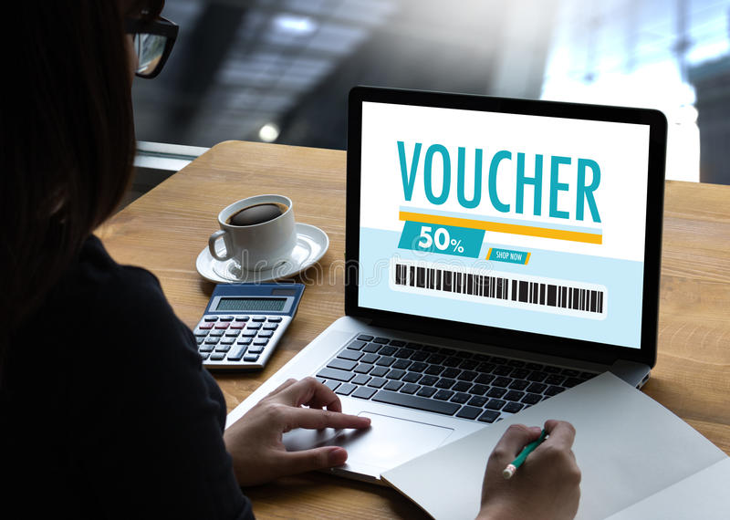 Credit Card Online Technology Shopping and Gift Card Voucher Coupon Concept royalty free stock photo