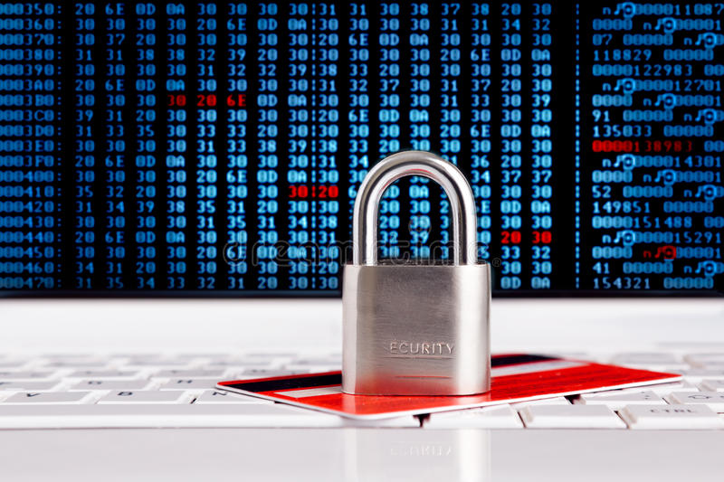Credit Card and padlock on. Keyboard - security, e-commerce concept royalty free stock image