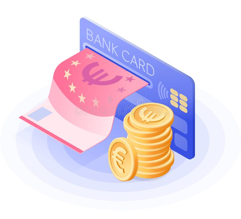 The credit card, paper euro, stack of coins. Isometric vector. vector illustration