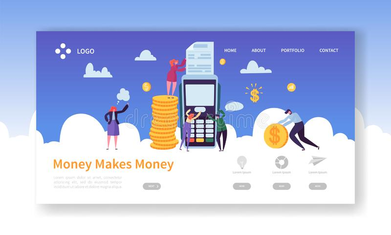 Credit Card Payment Terminal Concept for Landing Page Template. Business Characters Pay Cash Coins. Online Banking Money royalty free illustration