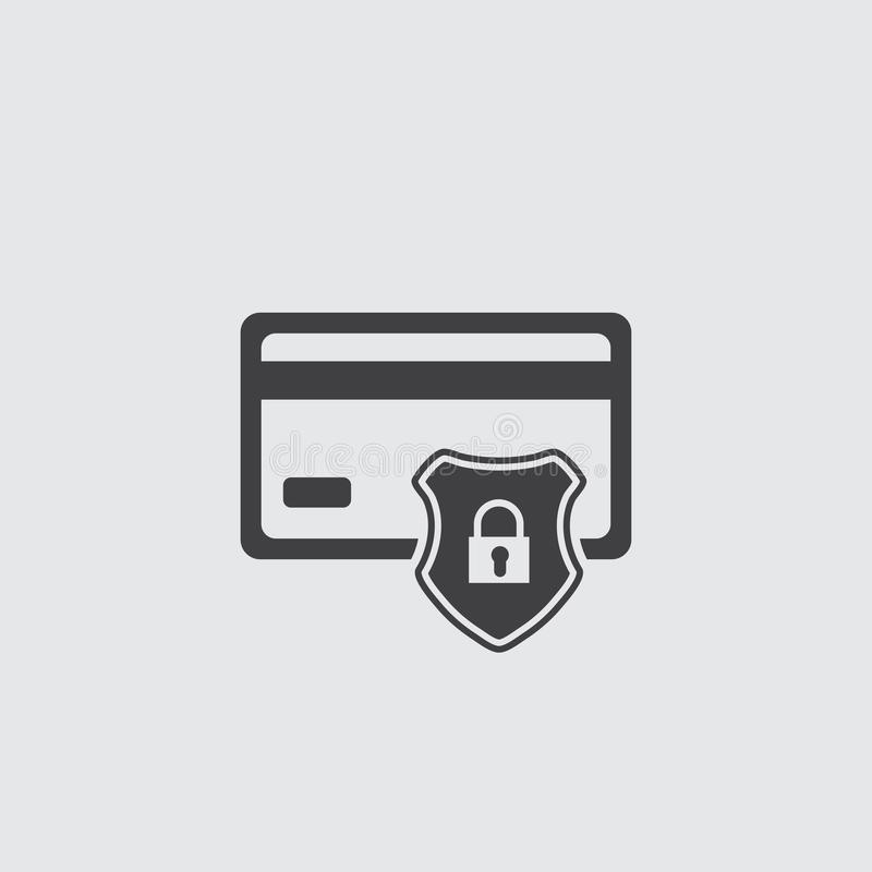 Credit card protection icon, secure payment sign, credit card with shield royalty free illustration