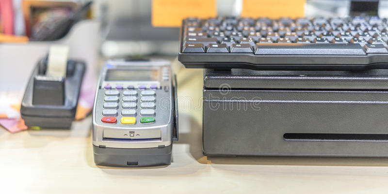 Credit Card. Card reader in retail shop , using depth of field royalty free stock photo