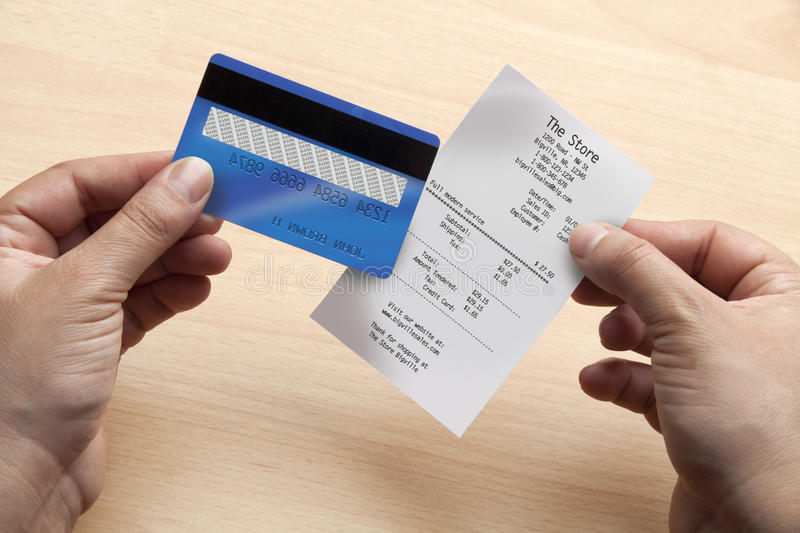 Credit card and receipt royalty free stock photography