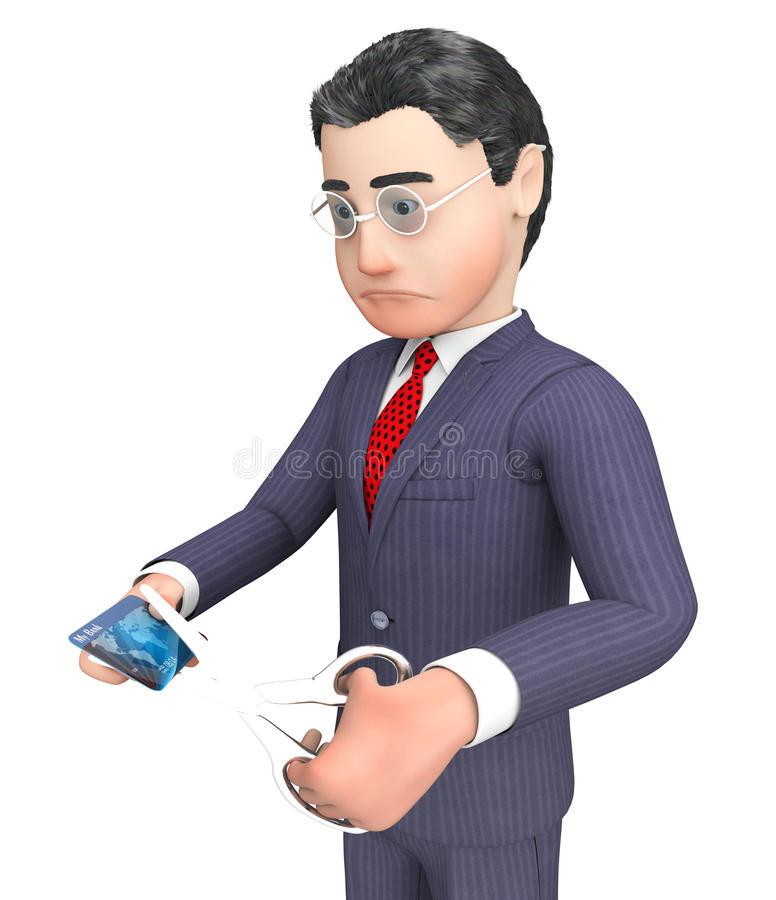 Credit Card Represents Business Person And Bankruptcy 3d Rendering. Credit Card Indicating Character Cutting And Banking 3d Rendering stock illustration