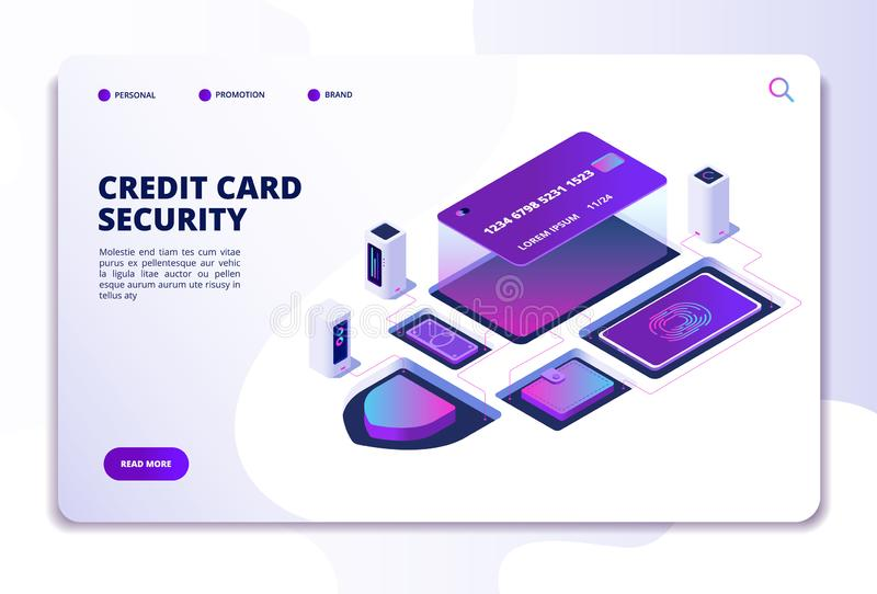 Credit card security isometric concept. Safety money online bank transaction. Smartphone payment technology landing page vector illustration