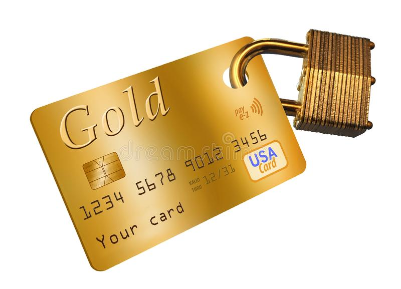 Credit card security is the theme of this illustration with a credit card and a padlock. royalty free illustration