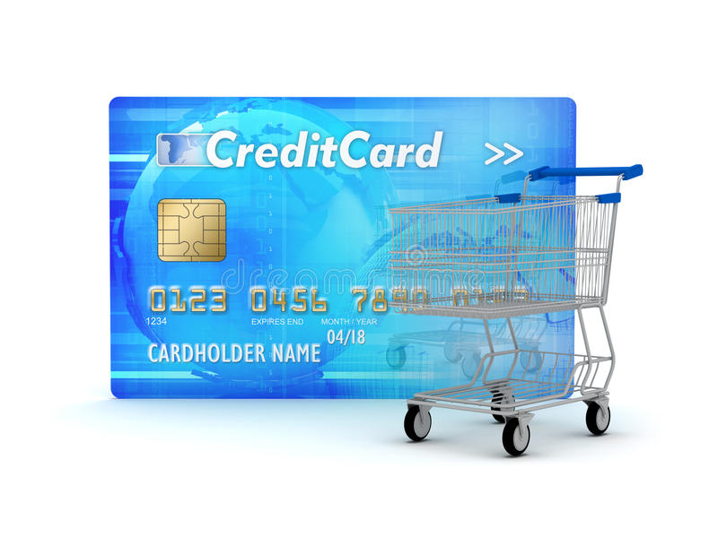 Credit Card And Shopping Cart Royalty Free Stock Images