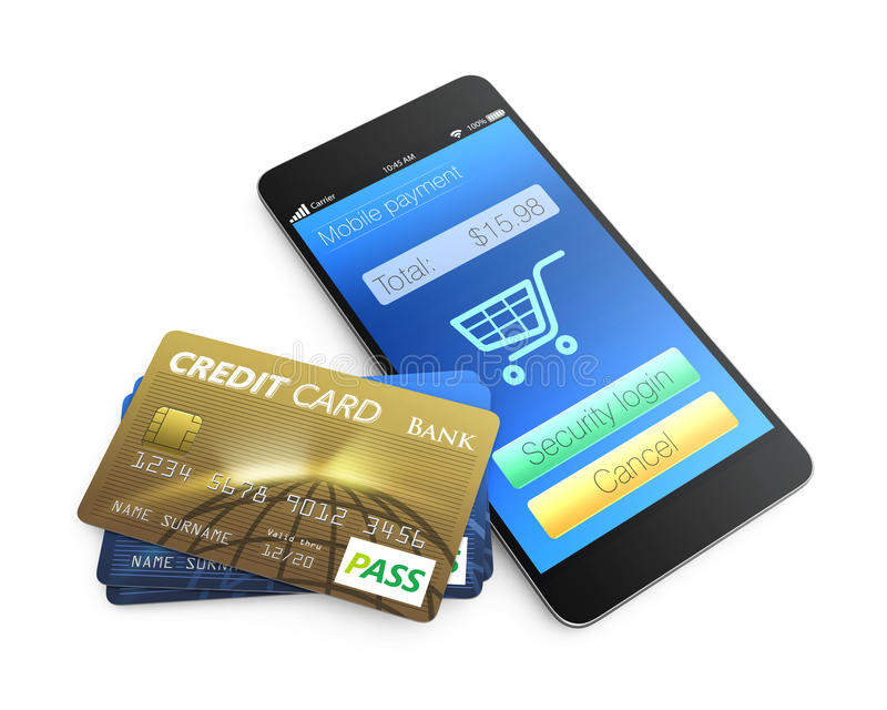 Credit card and smartphone isolated on white background stock illustration