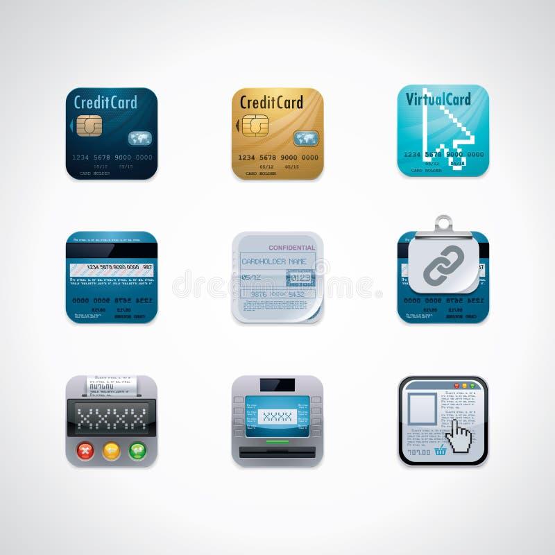 Credit Card Square Icon Set Stock Photos