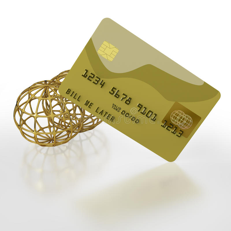 Gold credit card with two golden globes royalty free illustration
