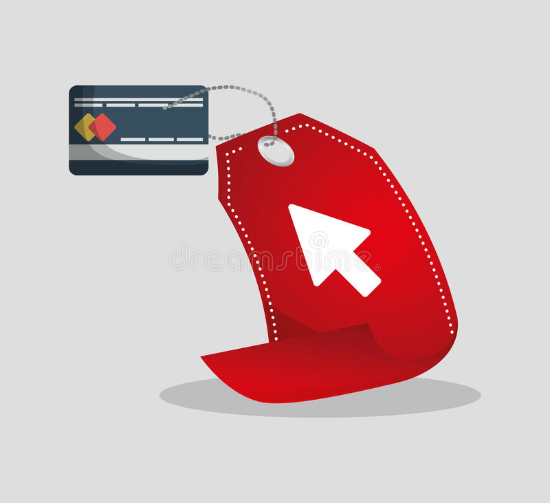 Credit card tag price shopping online concept. Illustration eps 10 stock illustration