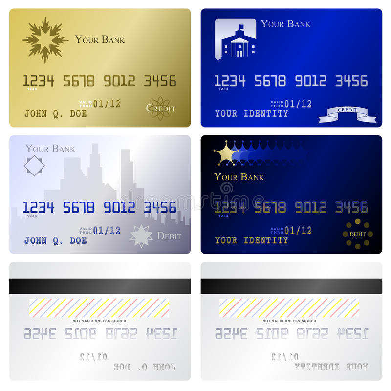 Credit card templates. Four fake credit card fronts and two matching back sides vector illustration