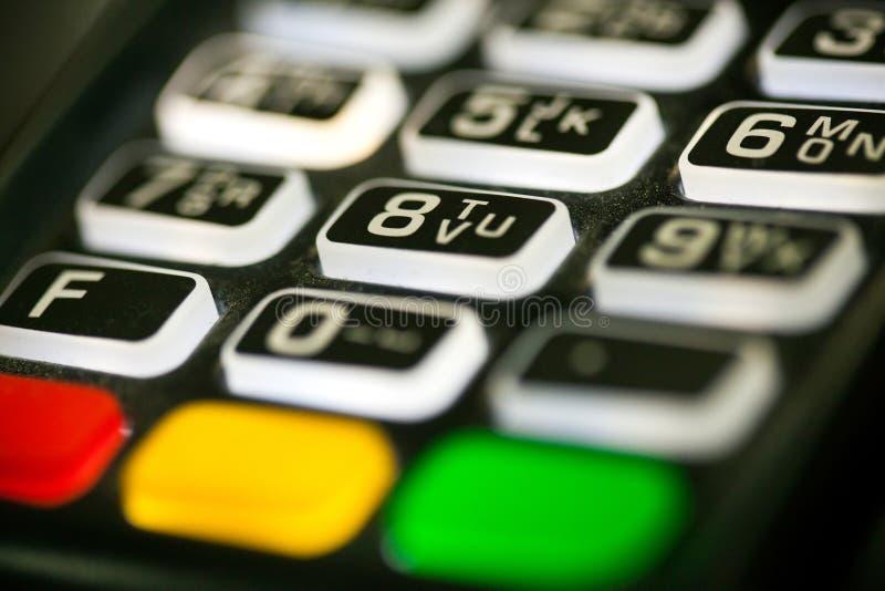 Credit card terminal keyboard closeup. Credit card pos terminal, keyboard closeup stock image