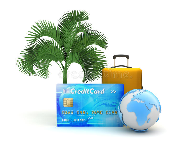 Download Credit Card, Travel Bag, Earth Globe And Palm Tree Stock Illustration - Illustration of bank, electronic: 39511452