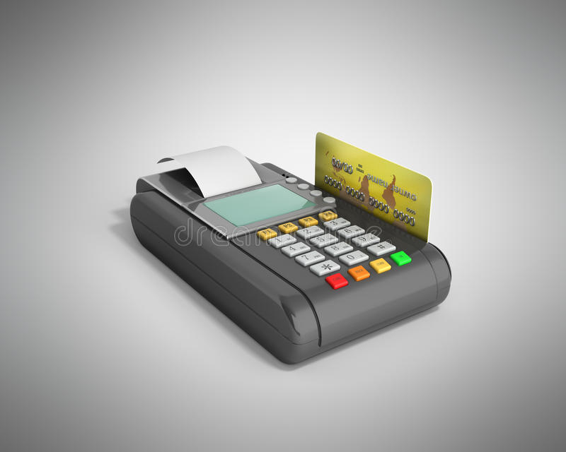 Credit Card trminal Machine 3D rendering on grey vector illustration