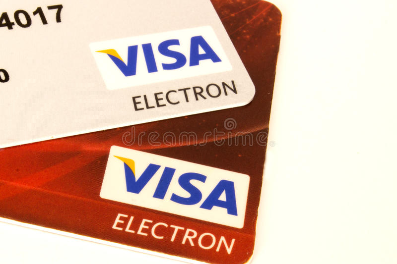 Credit Card. 2 VISA credit Cards white royalty free stock photo