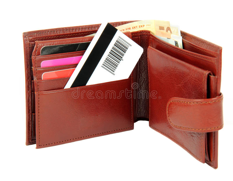 Download Credit card in wallet stock image. Image of leather, earn - 25239511
