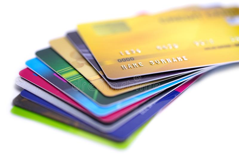 Credit card on white background : Financial development, Accounting, Statistics, Investment Analytic research data economy office. Business company banking royalty free stock photo