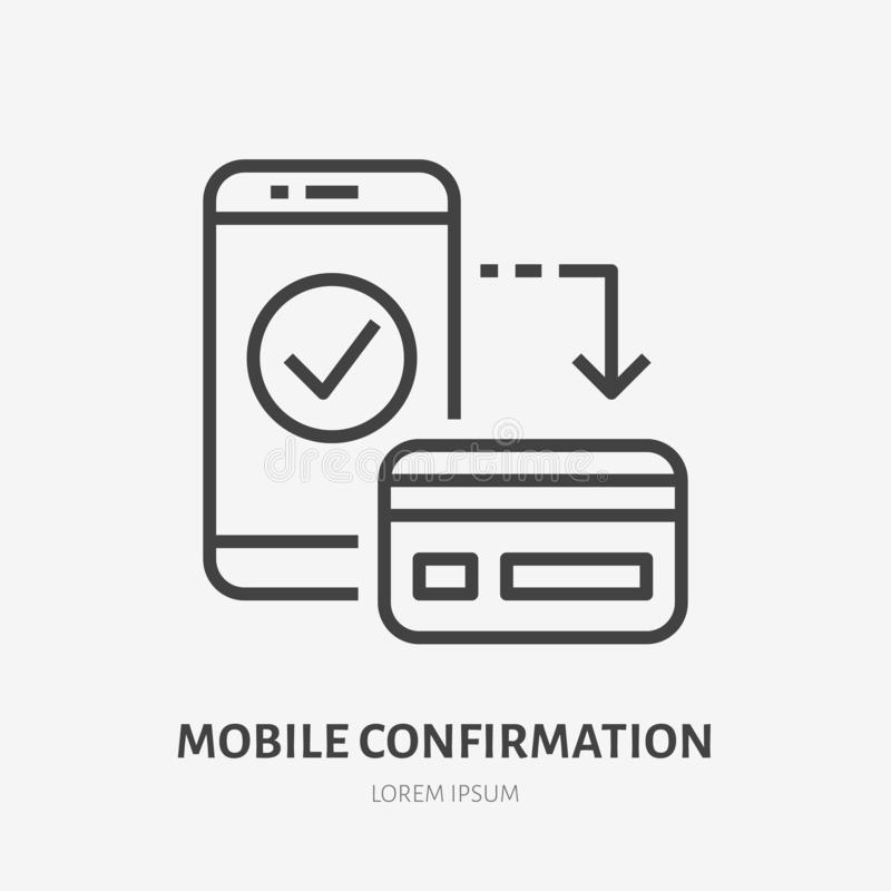 Free Credit Card With Mobile Phone Flat Line Icon. Online Bank Sign. Thin Linear Logo For Financial Services, Cash Transfer Stock Photos - 128793503