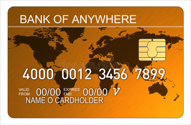 Credit card with world map stock illustration