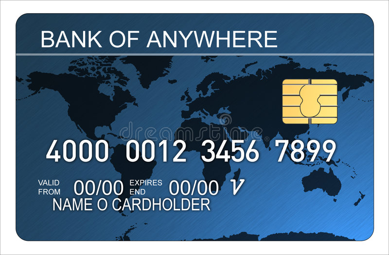 Credit card with world map blu royalty free illustration