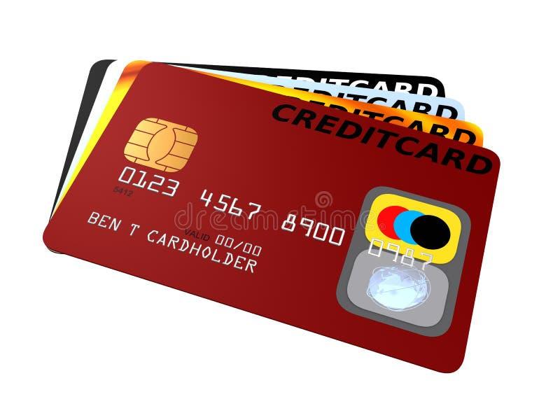 Credit cards. 3d rendered illustration of some different credit cards royalty free illustration