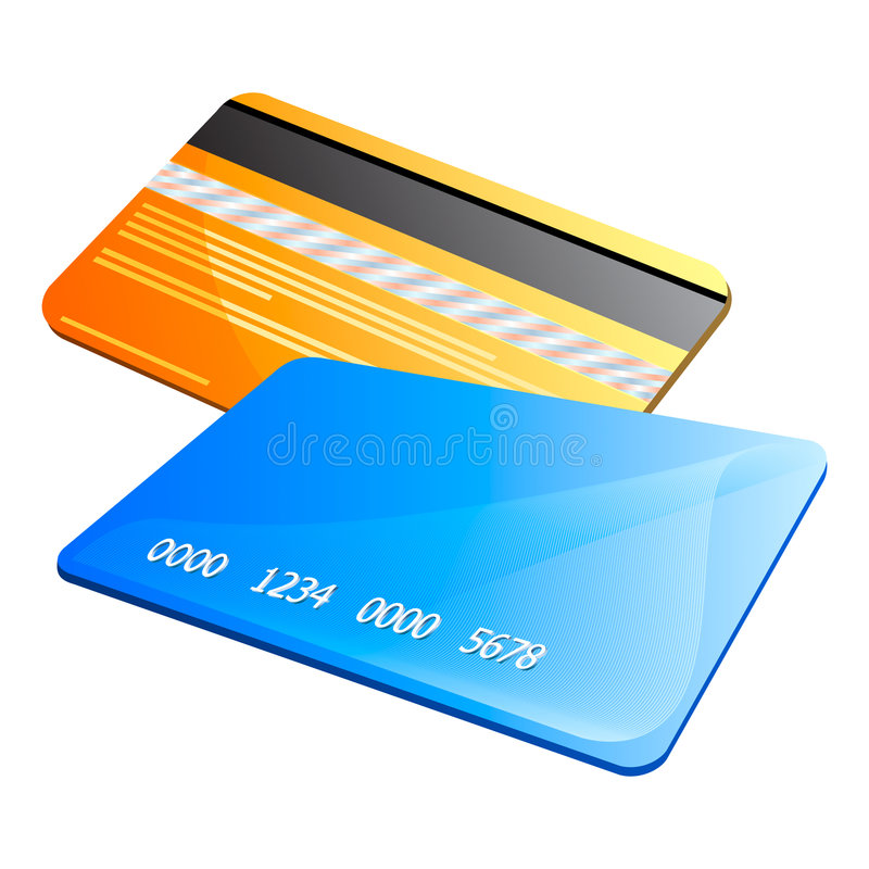 Credit cards. Front and back of abstract colorful credit cards
