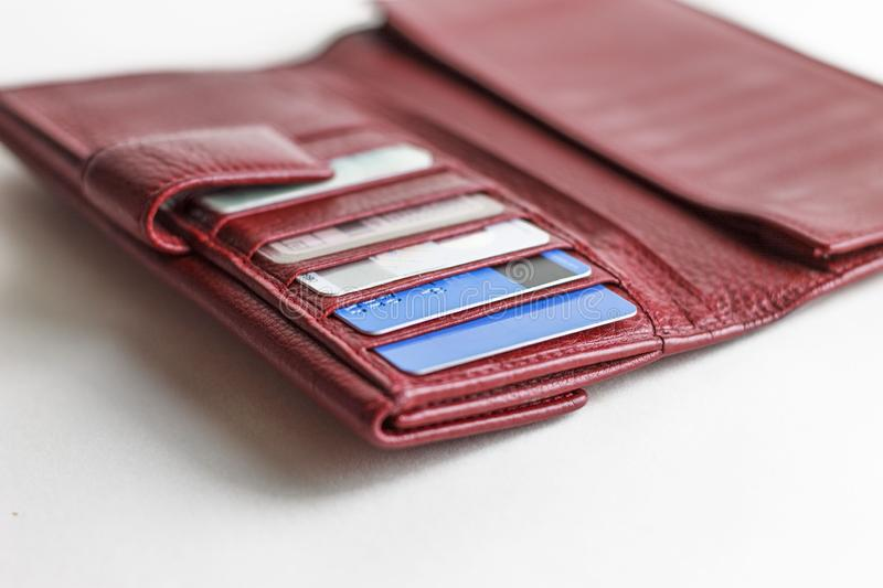 Debit cards in a wallet. Credit cards in a billfold royalty free stock image