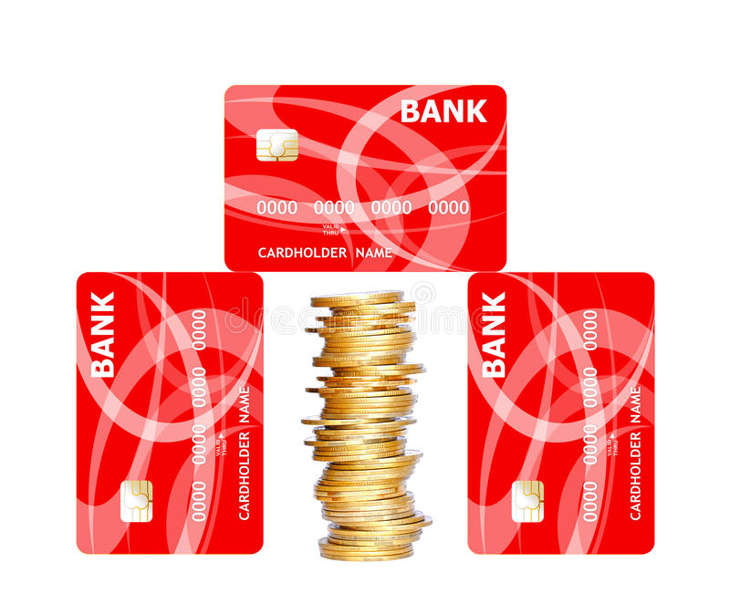 Credit cards and golden coins isolated on white. Background royalty free stock photos