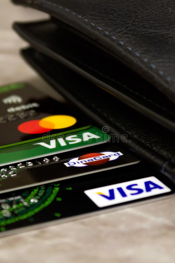 Wallet and credit cards royalty free stock images