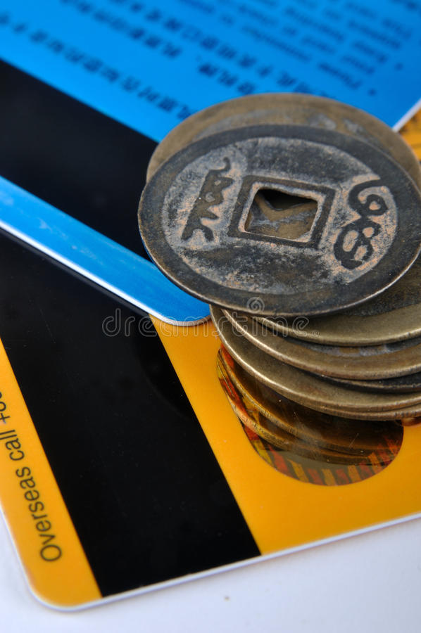 Download Credit cards and old coins stock image. Image of compare - 13431001