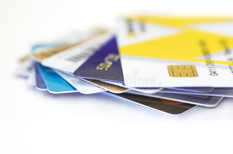 Credit cards together. On white, shallow dof stock photography