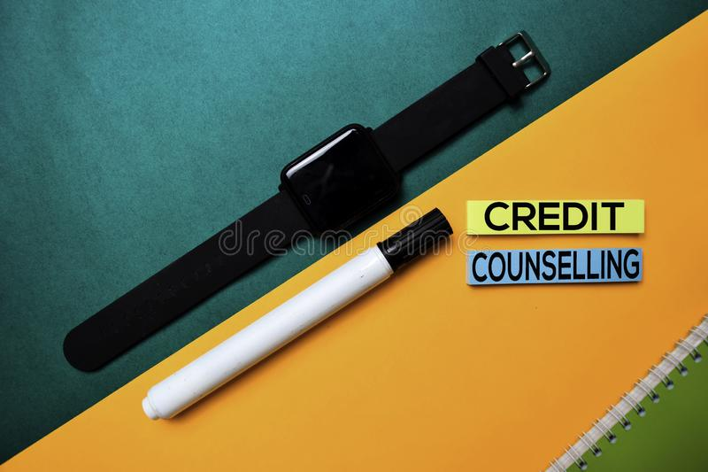 Credit Counselling text on top view color table background royalty free stock photo
