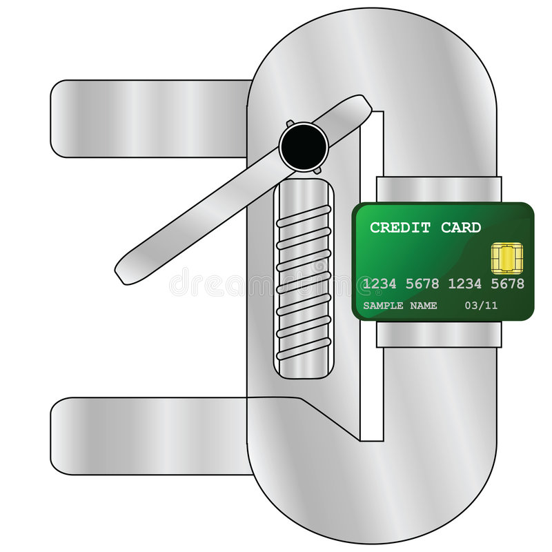 Credit crunch. Concept illustration showing a credit card being pressed by heavy machinery, to illustrate a credit crunch vector illustration
