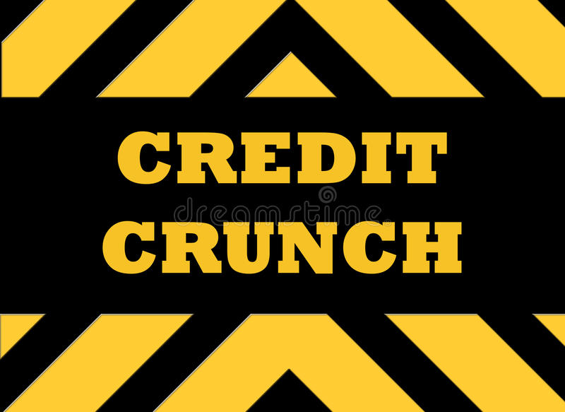 Credit crunch hazard sign. In yellow and black stock illustration