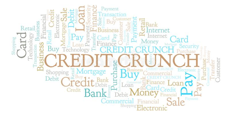 Credit Crunch word cloud. stock illustration