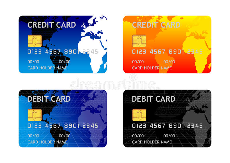 Credit Debit Card. 4 sets of credit and debit card background
